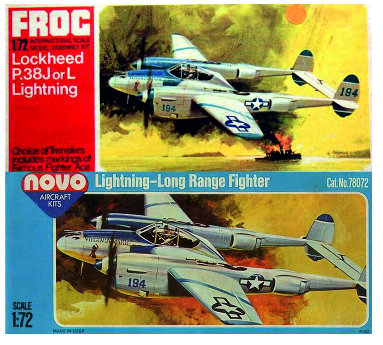 Obrázek se měnil i u P-38, změna se dotkla i posledních sérií pod značkou FROG, stejně jako u SB-2