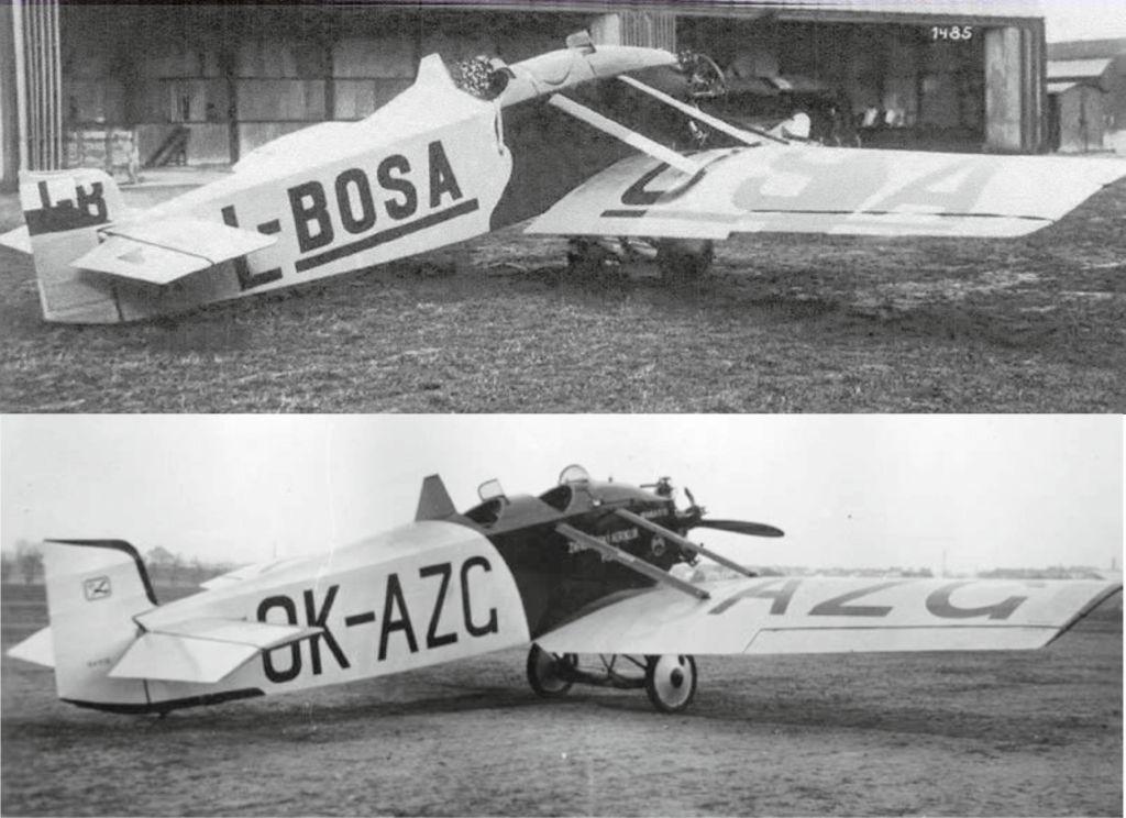 Nahoře jediná postavená BH-5 na dobové fotografii, dole OK-AZG, BH-11.10