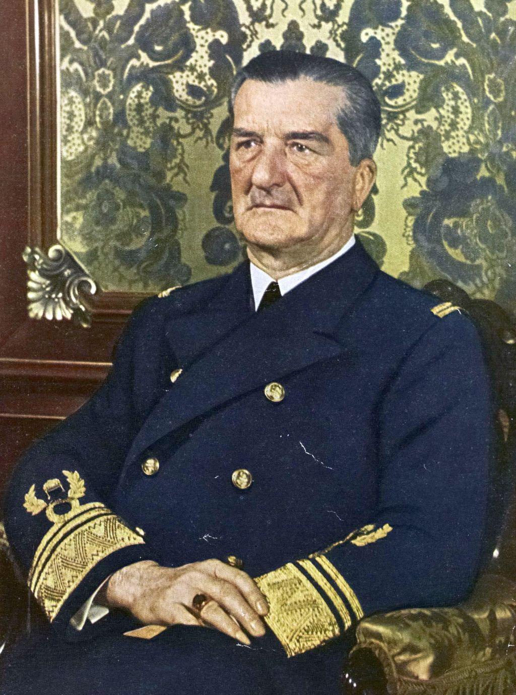 Admirál Miklós Horthy, který inicioval grandiózní plán výstavby maďarské válečné flotily
