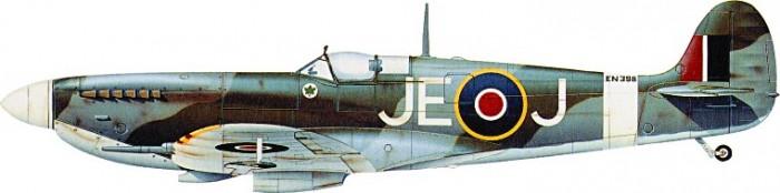 "kamufláž Spitfire Mk.IX EN398 JE-J W/Cdr. ""Johnnie"" Johnsona"